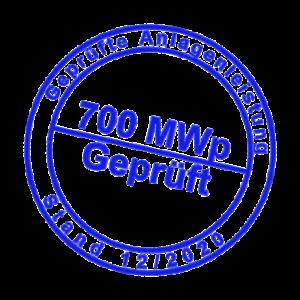 Siegel: 700 MWp geprüfte Anlagenleistung
